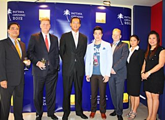 Democrat Party Deputy Leader Korn Chatikavanij (3rd left) recently presided over the official opening of the new offices of Savills Co. Ltd. The real estate management company is located on North Pattaya Road. Attending the ceremonies were Robert Collins (3rd right), CEO Savills Thailand; Chris Marriott (2nd left), CEO Savills South East Asia and Prem Bussralhamwong (centre).