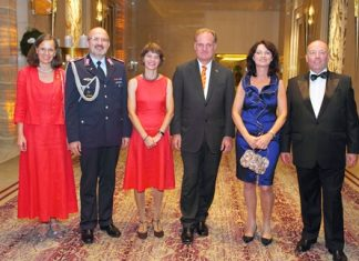 (From right) Ambassador Rolf Schulze, Petronella Schulze, Dr. Ingo Winkelmann, Ursula Allroggen, Military Attaché Ansgar Siebrecht and his wife Nicole wait to welcome the guests.