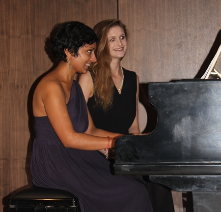 Parvati Mani (left) put in a virtuoso performance on the piano.
