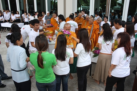 Nine monks from Nong Yai Temple perform a blessing ceremony to mark the anniversary.