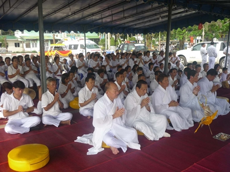 Sattahip citizens take part in the religious ceremonies during the opening festivities.