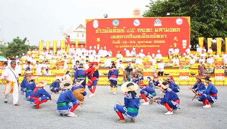 Eng-Kor-Pabu troops from the Look Praya group out of Nakorn Sawan perform their ancient ritual of fighting against corruption.