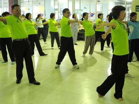 Hospital employees are given tai-chi classes to encourage them to live healthier and exercise more.