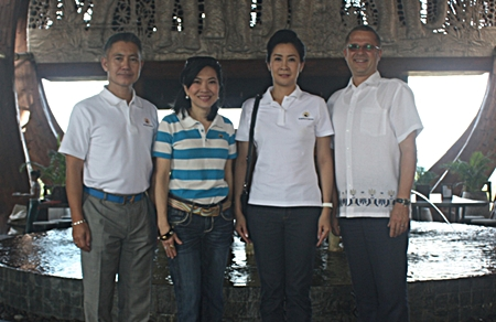 Andre Brulhart (right), General Manager of Centara Grand Mirage Beach Resort, Pattaya gives a warm welcome to Sawitree Damapong, president of Women Police Association, Supatra Chirathivat (2nd left), Centara' Sr. Vice President - Corporate Affairs & Social Responsibilities and Dr. Possawat Kanoknark.