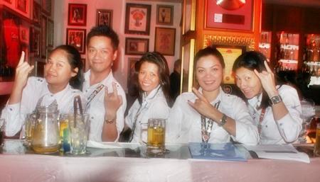Staff celebrates Hard Rock's 11th year in Pattaya.