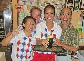 Winner Guy Stewart, 2nd left, and runner-up Mashi Kaneta, far right, with two of Bert's 'finest' and a nice pint.