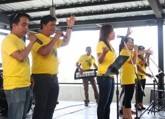 A Christian Philippine band plays a concert at Pattaya City Hall.
