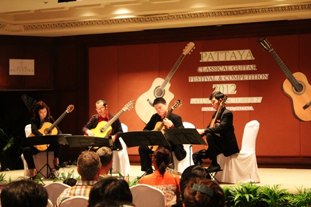 The Wong-Kojorn Guitar Quartet perform Queen's Bohemian Rhapsody.