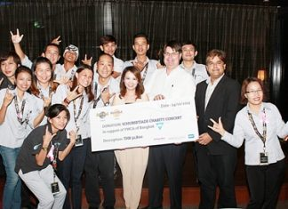 It was a time for celebrations as a huge cheque amounting to 32,800 baht was presented to Praichit Jetpai (centre), Chairwoman of the Y.W.C.A. Bangkok Pattaya Center. The funds were raised at the Schubertiade Charity Concert held at the Hard Rock Hotel recently. The event was hosted by Hard Rock Hotel Pattaya together with Pattaya Mail Media Group, New Frontier Music Academy and BBX. On hand to make the presentation were Patrick Ng, Executive Assistant Manager of Hard Rock Hotel Pattaya, Tony Malhotra (2nd right), Assistant Managing Director of Pattaya Mail Media Group, and Laurie Muir (3rd right), International Business Development Manager of BBX.