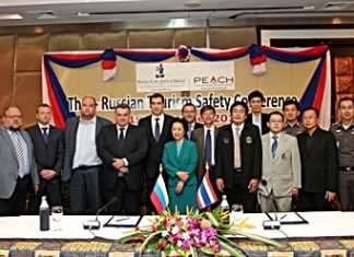 On November 19, 2012, the Thai-Russian Safety Conference was held at the Royal Cliff Hotels Group in Pattaya, Thailand which also serves as the official location of the Honorary Consul of The Russian Federation in Pattaya. (L to R) Athapol Vannakit, Director of TAT Pattaya Office; Vladimir Romanov, Acting Trade Representative of the Russian Federation to Thailand; Roman Bobylev, Head of the Working Group on Tourists Protection Abroad of the Public Chamber of the Russian Federation; Dmitry Davydenko, Chairman of the Tourism Safety Commission, Public Council of the Federal Tourism Agency of the Russian Federation; Counselor Andrey Dvornikov, Head of the Consular Section, Embassy of the Russian Federation to Thailand; Evgeny Pisarevsky, Deputy Head of the Federal Tourism Agency of the Russian Federation; Panga Vathanakul, Honorary Consul of the Russian Federation to the provinces of Chonburi and Rayong, the Kingdom of Thailand; Victor Kriventsov, Deputy Honorary Consul of the Russian Federation; Dr. Prathan Surakitbovorn, Chief of Chonburi Governor's Office; Pattaya Deputy Mayor Ronakit Ekasingh; Sanpech Supabowornsthian, Vice-President of THA Thanet Supornsahasrungsi, Committee of the Tourism Council of Thailand Pol. Lt. Col. Arun Promphan, Pattaya Tourist Police Inspector; Sinchai Wattanasartsathorn, Vice President of Pattaya Business and Tourism Association (PBTA); Pol. Lt. Col. Anek Srathongyoo, Crime Control Suppression Inspector of Pattaya City Police Station; and Phumpipat Kamolnart, Secretary of the Mayor of Pattaya.