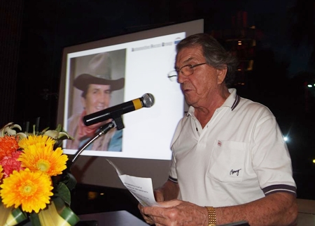 Inaugural President George Strampp delighted everyone with a most amusing video detailing his several years at TRW.