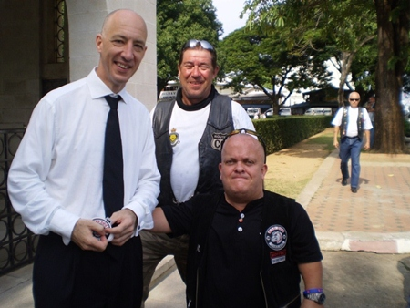 The Ambassador with James of CC Riders and Tom the secretary of the Mad Dogs.