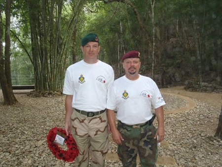 Two of the riders at Hellfire Pass, you may well recognize Patrick of Patrick's Belgium Restaurant on the right. Patrick served many years in the Belgium Airborne and the French Foreign Legion.