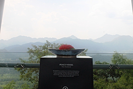 We laid one of our wreaths next to this monument at Hellfire Pass.