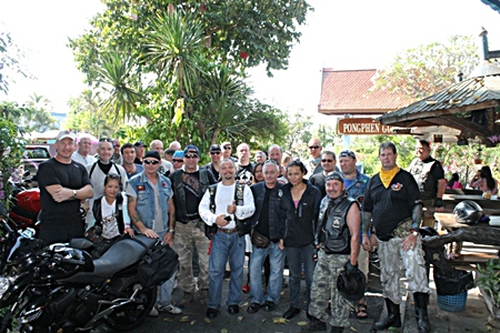 Some of the riders and Frank (left) meet up in Kanchanaburi.