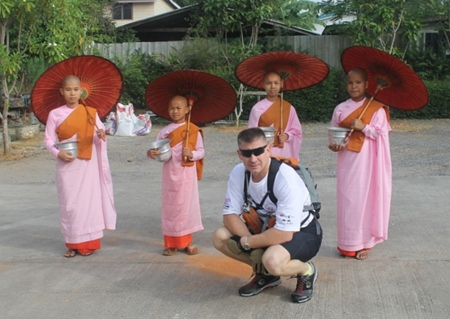 Young Burmese monks bless Frank on day one.