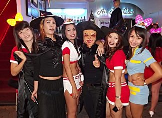 Pattaya put on its scariest face as tourists and residents alike haunted hotels, restaurants and nightlife districts to celebrate Halloween. Shown here, mistresses of good and evil both scare and entice creatures of the night on Walking Street.