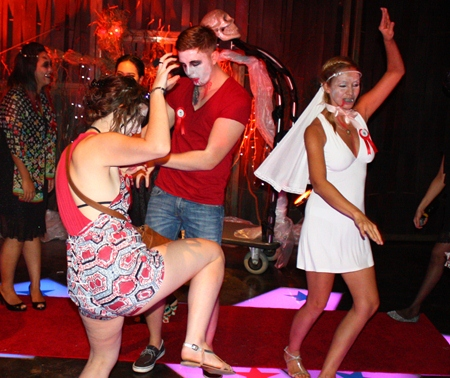 Elena (right), winner of the Zulu Bar costume contest dances alongside Jimmy Clarkson, 2nd runner up.