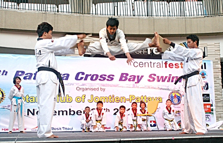 Pesuso Gym Taekwondo performers show their skills in the after race party.