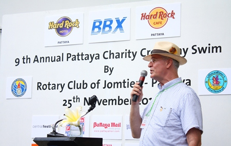 President Dieter Reigber welcomes everyone to the 2012 Rotary Charity Cross Bay Swim.