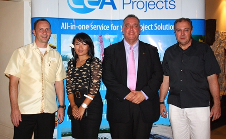 (L to R) Danilo Becker, Resort Manager of the Thai Garden Resort; Wongduan Roberts, Kevin Fisher, MD of CEA; and Rene Pisters, GM of the Thai Garden Resort.