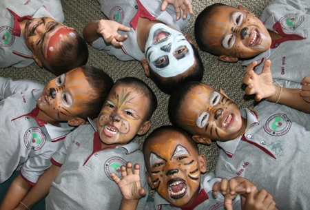 Face painting is better than learning English.