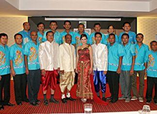 "(Center, left to right) Takientia Deputy Mayor Arun Nuandet, Takientia Mayor Manop Prakorbthum, former Miss Thailand World Panadda ""Boom"" Wongphudee, and Takientia Deputy Mayor Mitchai Prakorbthum announce the event surrounded by staff."