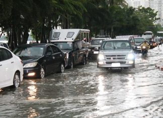 Unfortunately, this sight is becoming all too common as Pattaya's infrastructure cannot keep up with heavy rainfall.