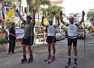 Kalle Kristensen (center) and team members Peten Fagerlund (left) and Kjell isak Sundbo (right) arrive at the New Nordic Resort after having rolled 1,000 kilometers from Chiang Rai in 12 days.