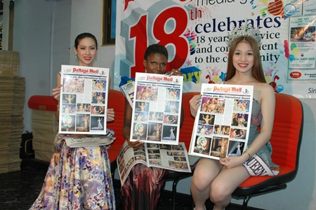 The three beauty queens visit to say thanks to Pattaya Mail.