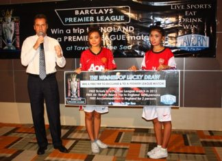 Amari Orchid Pattaya Residence Manager Richard Margo announces how football fans can win a trip to England to see Manchester United face Arsenal from the Tavern by the Sea.