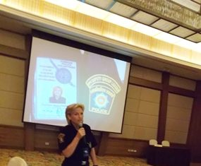 Rita Timpen is just one of five women working with the Foreign Police Volunteers here in Pattaya