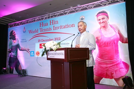 Suwat Lipatapanlop, President of the Lawn Tennis Association of Thailand, addresses a press conference to announce the end of year challenge match between Serena Williams and Victoria Azarenka.