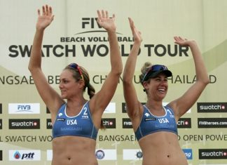 Jennifer Kessy and April Ross from the USA celebrate after winning the Bangsaen Thailand Open beach volleyball tournament, Sunday, Oct. 28. (Photo/FIVB)