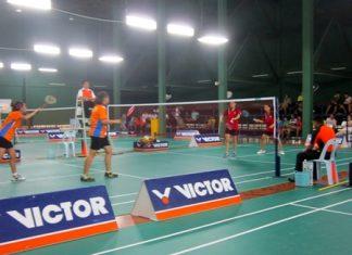 Junior badminton doubles final.