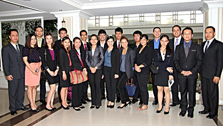 Neoh Kean Boon (left), resident manager of Dusit Thani Pattaya and Arum Chaisomsri (2nd right), training manager are joined by the hotel management and Dusit International management trainees who recently paid a visit to the resort as well as the dusit d2 property for inspection and familiarization of the city. Hotel GM Chatchawal Supachayanont gave them a pep talk for encouragement and understanding of hotel management perspectives. The management trainees are composed of university graduates with a bachelor's degree and some are Dusit employees who decided to enter the program to study among others, the integration of theories, operational principles and practices into project presentation to the corporate executives' level.