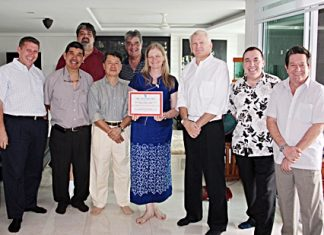 Skål International Chiang Mai president Annette Kunigagon is presented with a Membership Development Certificate on behalf of her club, by Skål International Thailand president Andrew J Wood (third from right). The certificate recognises Annette's remarkable efforts in recruiting new Skål members in Chiang Mai and Northern Thailand (more than 10% in the past 12 months), leading her dedicated volunteers that make up the Chiang Mai club's executives. The presentation took place during the half-yearly meeting of the Skål Thailand executive committee held in Chiang Mai recently. Also pictured, left to right, are Claude Sauter, Somsak Kiratipanich, Scott Smith, Jaffee Yee, Dale Lawrence, Brinley Waddell and Bob Lee.