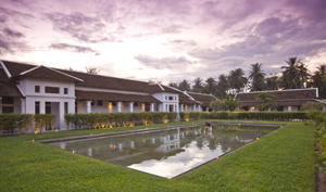 The reflection pool at Hotel de la Paix Luang Prabang's courtyard garden - a refined and dignified setting for an unforgettable wedding   day.