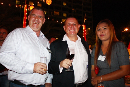 (L to R) Joe Cox, Managing Director of Defence International Security Services, Garry Irvin, Manarco Recruitment Ltd and Jutharat Champawong.