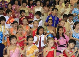 Some of the school's youngest students take part in the whole school dance.