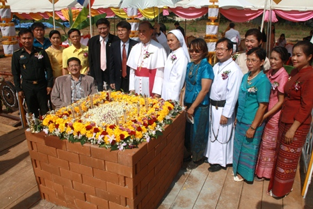 Officials gather for the foundation stone ceremony for the Nong Khai Redemptorist Vocational School.