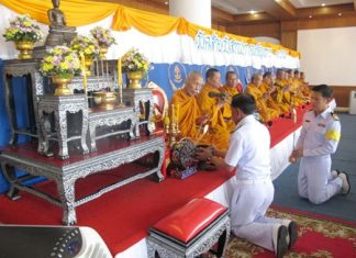 Monks perform religious ceremonies as top navy officials mark the Royal Thai Fleet's 89th Founder's Day.