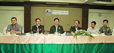 Mayor Itthiphol Kunplome outlines city expenses during the Pattaya Business & Tourism Association's Dec. 12 meeting.