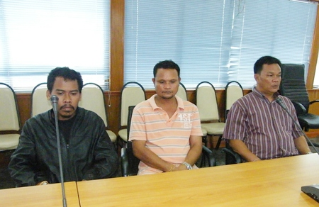 (L to R) Pramak Maokramol, Somkid Woenkrathok and Sompoj Sukantapurk were brought in for questioning about their involvement in the drowning death of Patrick Lawrence Malloy.