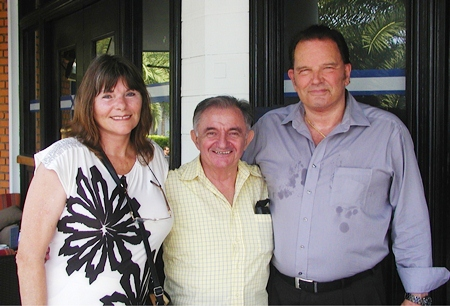 John & wife Katerina pose for a photo after the talk with friend & PCEC board member Lawrie.
