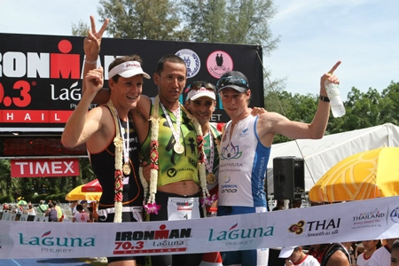 A testimony to Thanyapura's dedication to excellence: Tim Meyer (far right) stands proudly on the podium having secured a third place position at the Phuket Ironman 70.3 Triathlon.