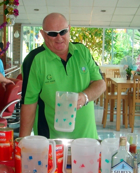 Graham Beaumont hard at work making the Bloody Mary's.