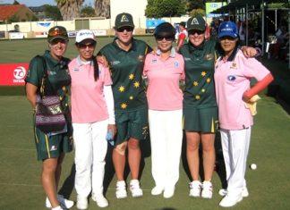 The Thai Ladies triples team of Orawan Sodok, Songsin Tsao and Thong Oomen pose with their Australian counterparts, Karen Murphy, Natasha van Eldick and Lynsey Armitage.