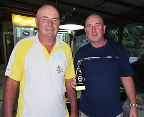 "Steve Milne (right) receives his ""Take it Easy"" sponsored trophy from Capt' Steve."
