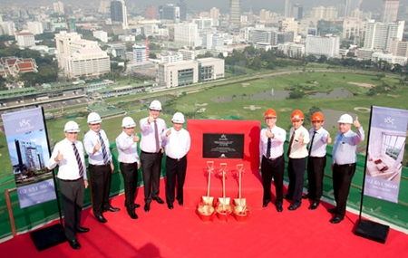 Raimon Land directors pose for a group photo during the topping out ceremony for 185 Rajadamri.